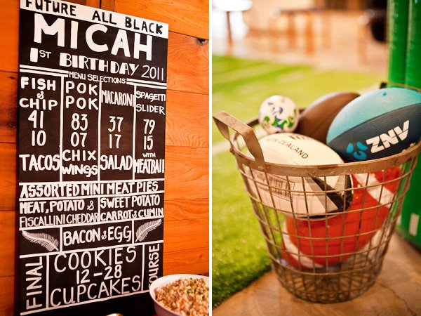 rugby first birthday party sign and balls for a game