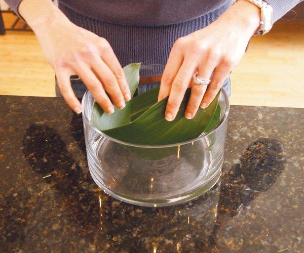 easter floral diy centerpiece leaf base instructions