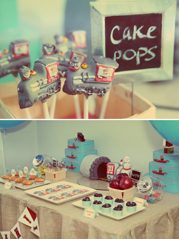 little engine that could dessert table with cakepops