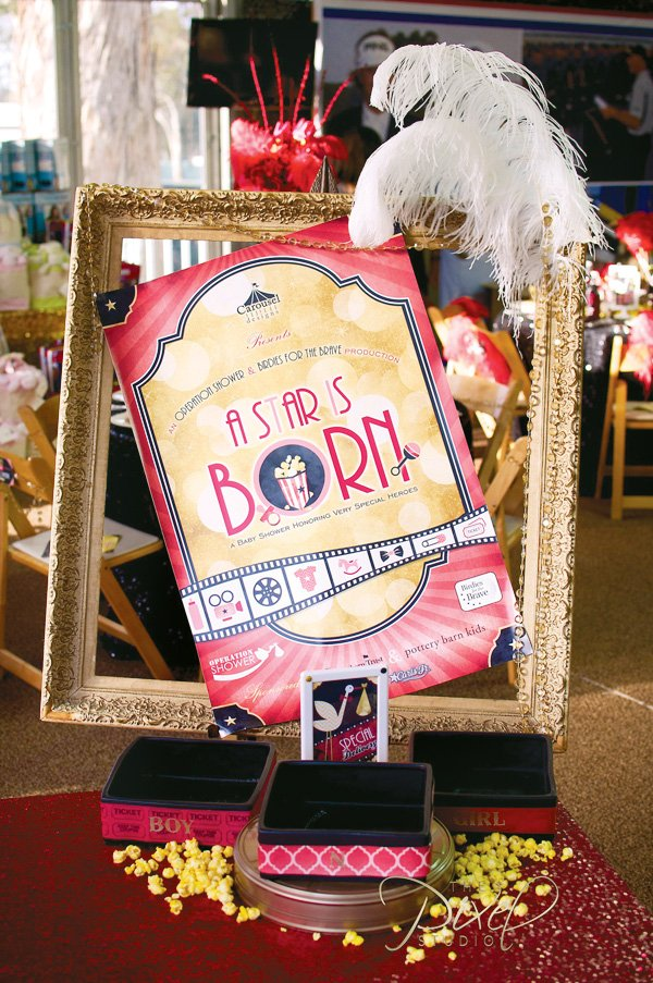a star is born hollywood baby shower sign with golden frames