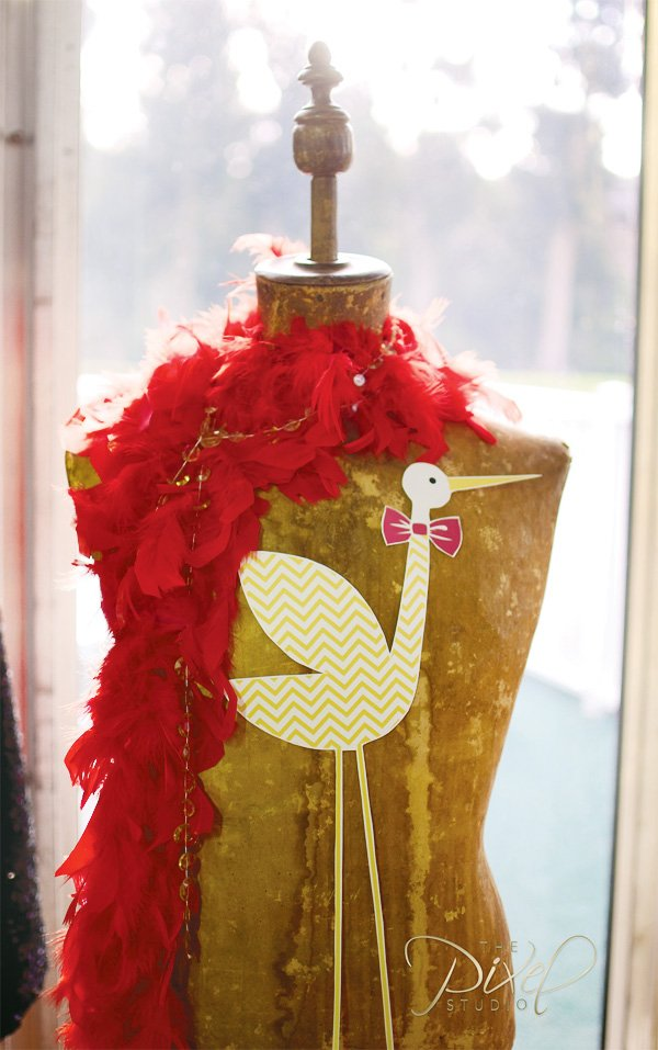 hollywood glam stor and red boa feather decorations for a star is born operation shower