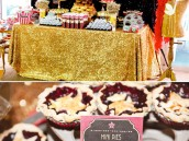 a star is born hollywood glam sweets table and mini pies
