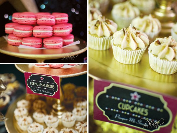 star is born macaroons and cupcakes on the hollywood glam sweets bar