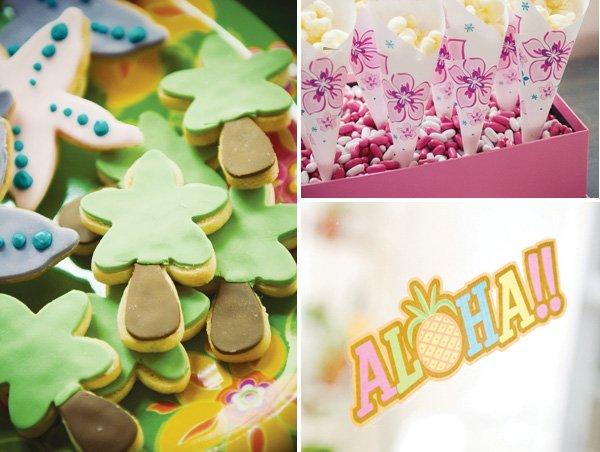 luau birthday party palm tree cookies and starfish cookies