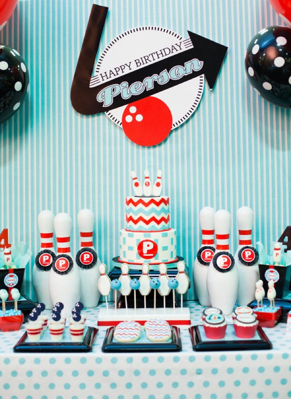 Retro Bowling Party With A Modern Twist Hostess With The Mostess Magnificent Bowling Birthday Party Decorations