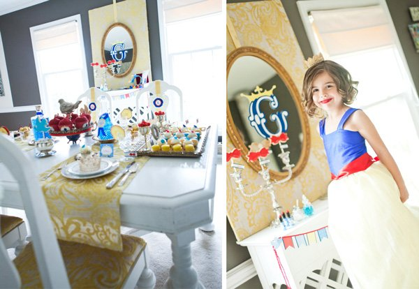 snow white fairy tale birthday party table decorations and costumes