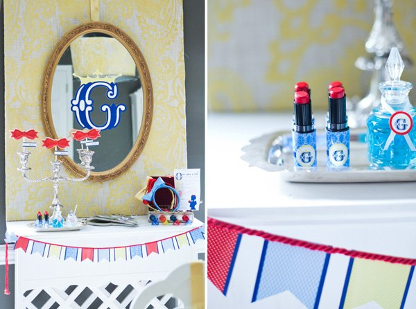 snow white fairy tale birthday party mirror decorations and lipstick favors