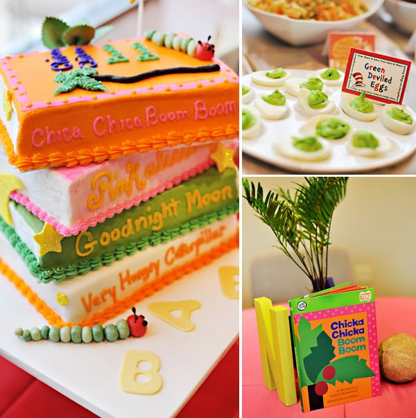 book theme baby shower cake and green eggs from dr. seuss