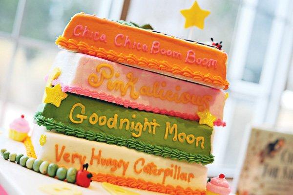 book theme baby shower cake