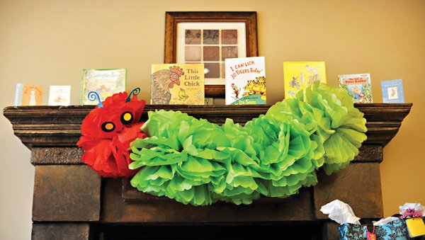 book theme baby shower caterpillar decoration