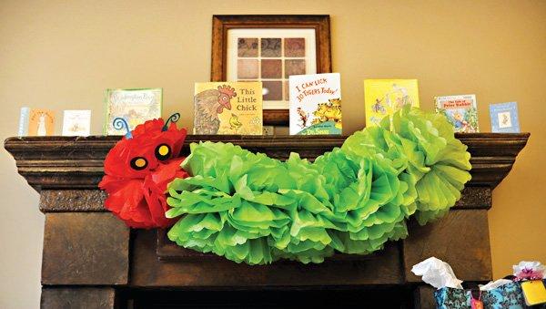 book theme baby shower caterpillar decoration