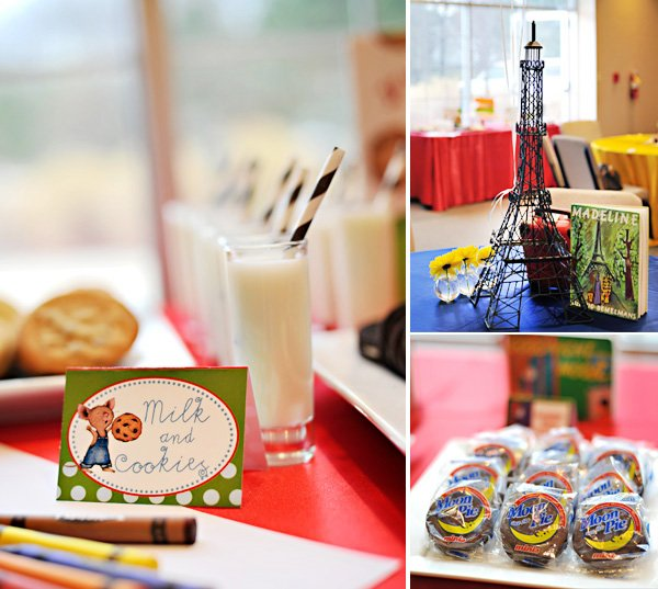 book theme baby shower milk and cookies