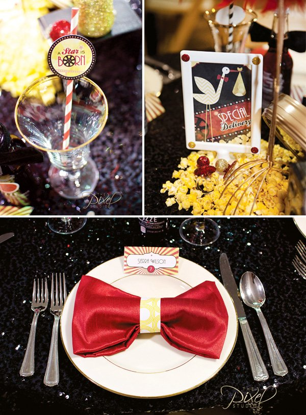 a star is born bow tie napkin fold and hollywood glam place setting