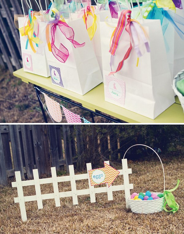 easter egg hunt - chevron easter birthday party favors and colored eggs