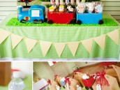 choo choo farm animal birthday party dessert table and place settings