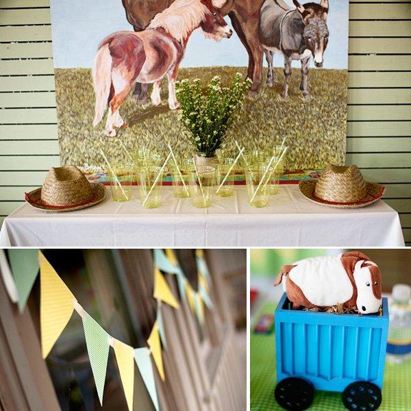 choo choo farm animal birthday party pendant and table decorations