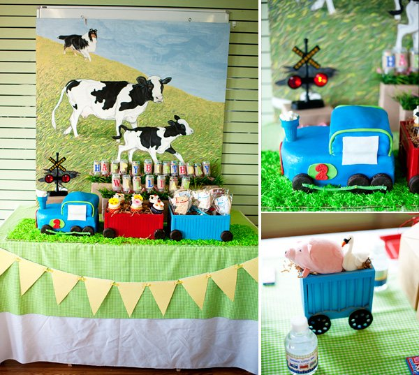 choo choo animal farm party birthday cake