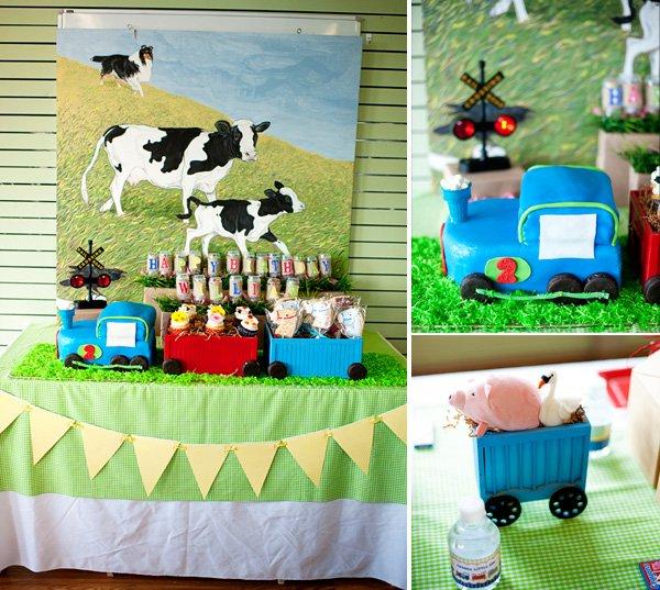 choo choo animal farm party birthday cake