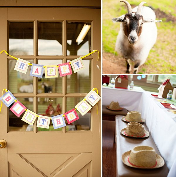 choo choo animal farm partyhappy birthday sign, goat and table settings with cowboy hats