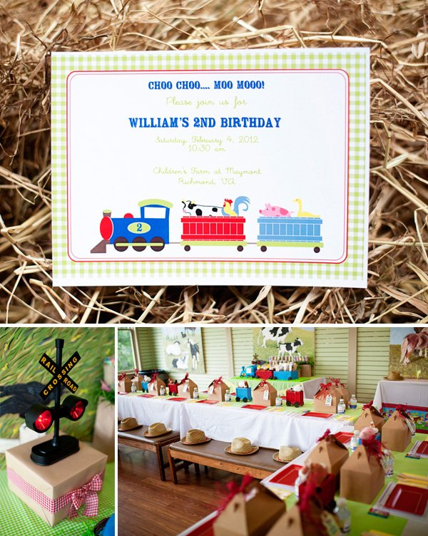 choo choo animal farm party invitations