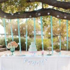 Coral and Aqua Wedding Winter Dessert Table