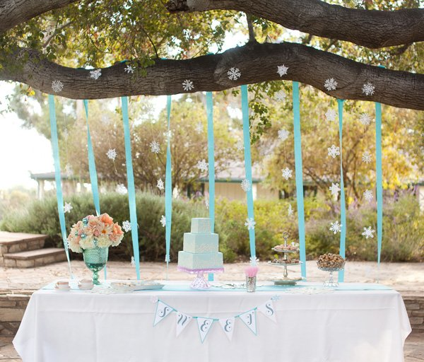 Coral and Aqua Wedding Winter Dessert Table