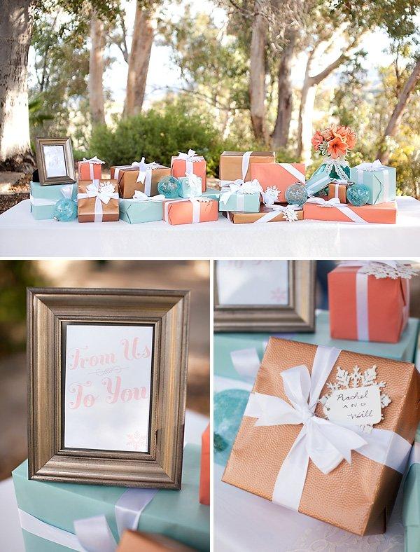 coral and aqua wedding presents