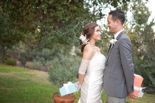 coral and aqua wedding - bride and groom