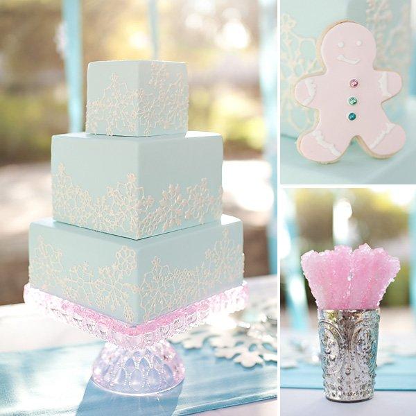 winter wedding cake - aqua and white
