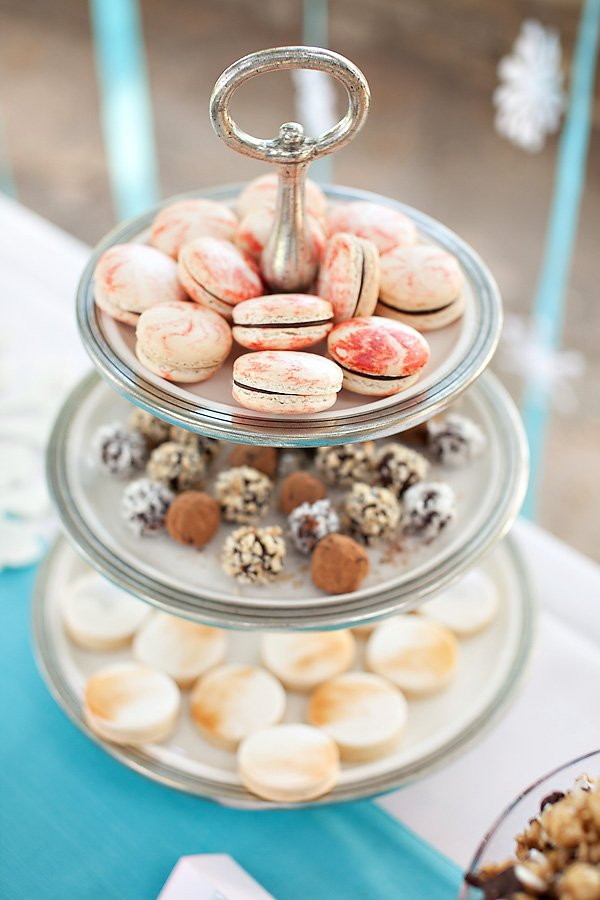 Dessert stand with swirled macaroons
