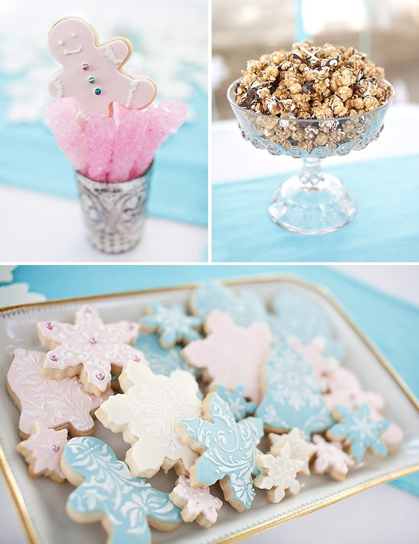 snowflake sugar cookies and pink rock candy