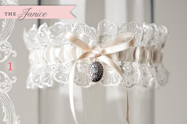 custom lace and locket wedding garter by La Gartier