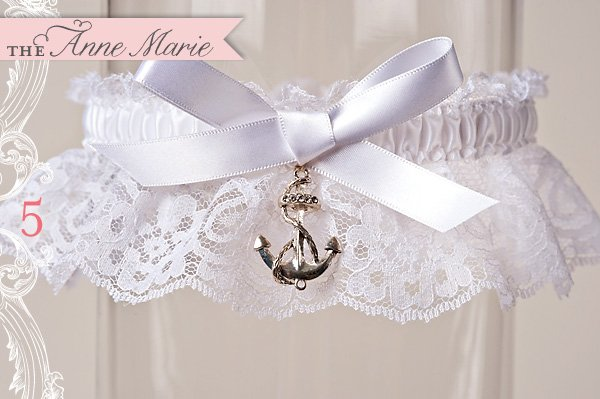 custom nautical lace wedding garter by La Gartier