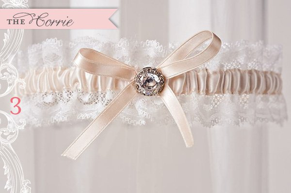 custom peach and white lace wedding garter by La Gartier