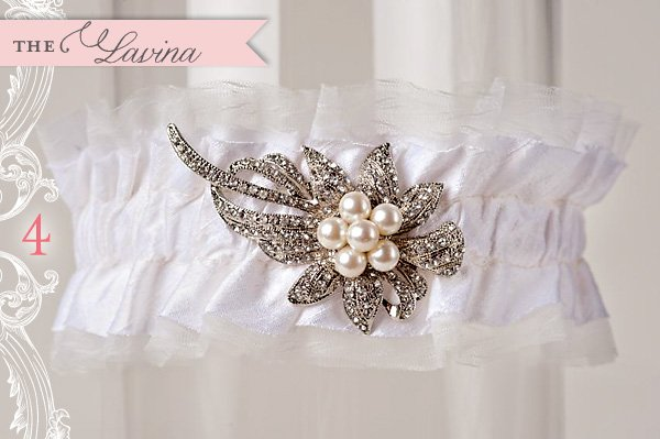 custom wedding garter with crystal brooch by La Gartier