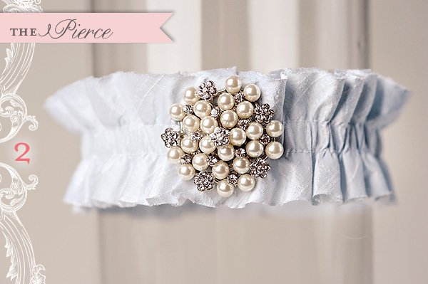 custom white garter with pearls and crystals by La Gartier
