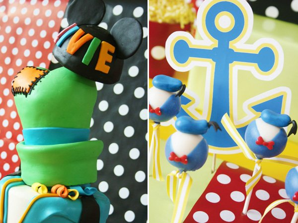 disney birthday party with donald duck cake pops