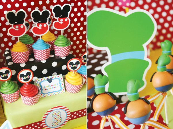 disney birthday party cupcake toppers and goofy cake pops
