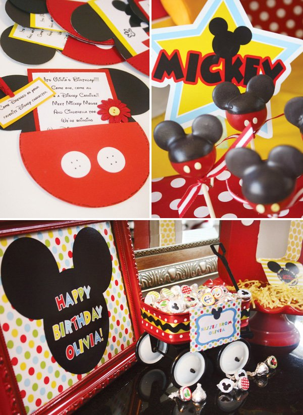 disney mickey mouse invitations and cake pops