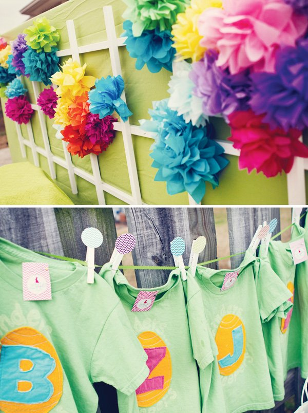 colorful tissue pom dessert table background and personalized shirts