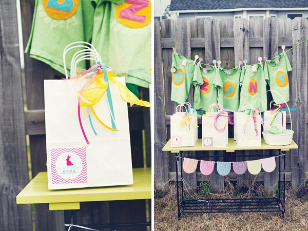 chevron easter birthday party favors, banner, and t-shirts
