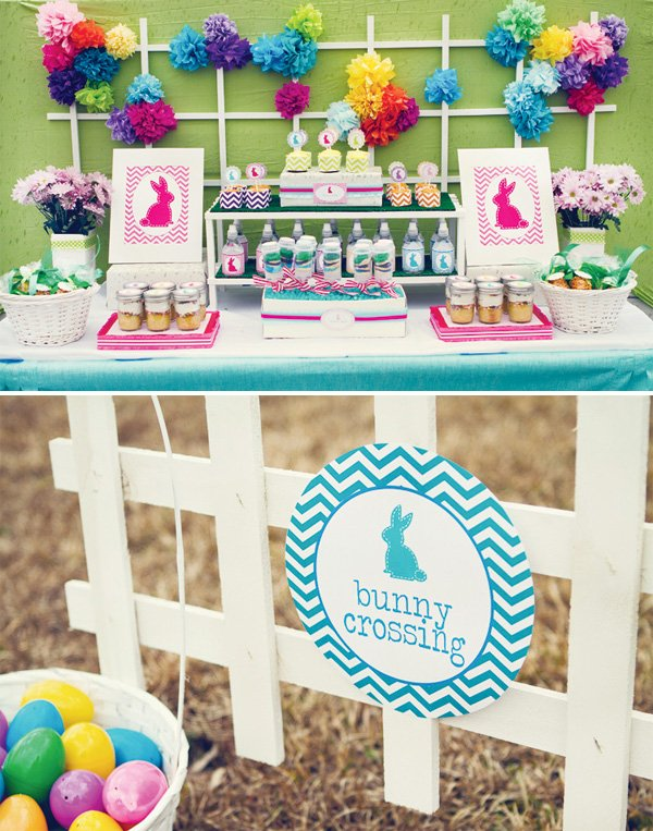 chevron easter dessert table