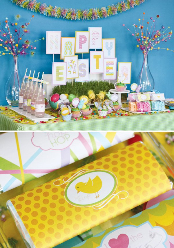 easter bunny collection dessert table and chocolate labels