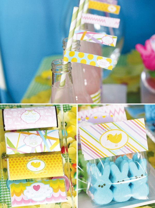 easter bunny collection peep labels and chocolate bar straw flags