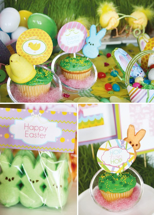 easter bunny collection table peeps and cupcake toppers