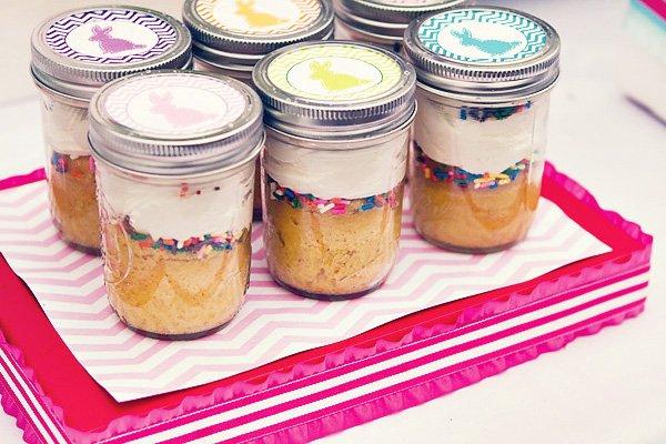 easter cupcakes in mason jars