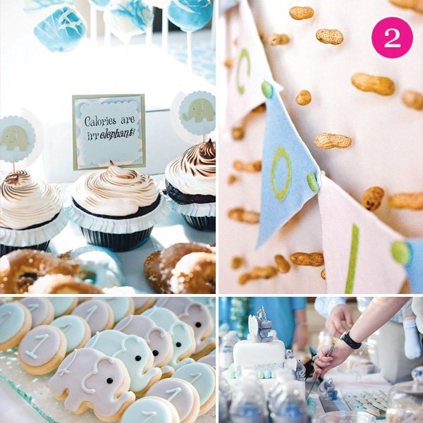 elephant first birthday party with peanut decorations and dessert table