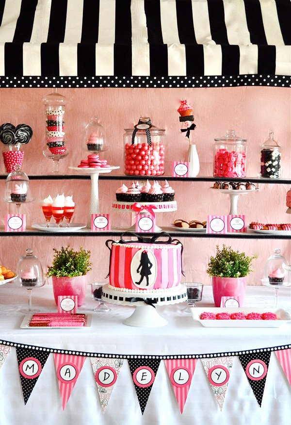 Eloise themed cake and birthday party dessert table