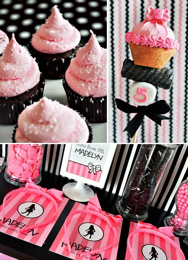 marshmallow cupcake pops, pink cupcakes, and pink headband party favors