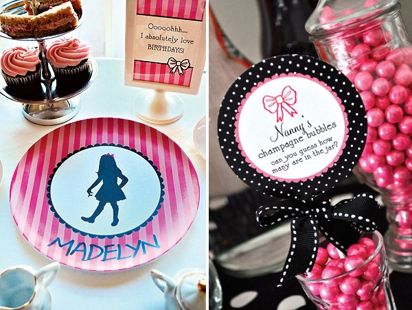 personalized Eloise themed plates - pink and black
